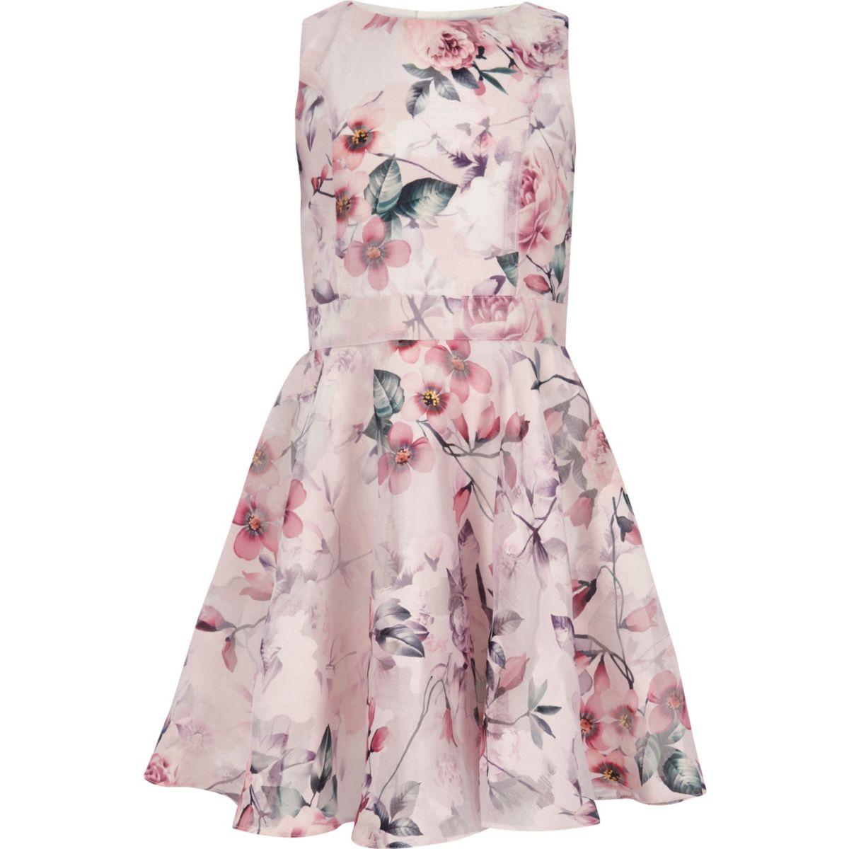 Robe de bal à imprimé floral rose pour fille