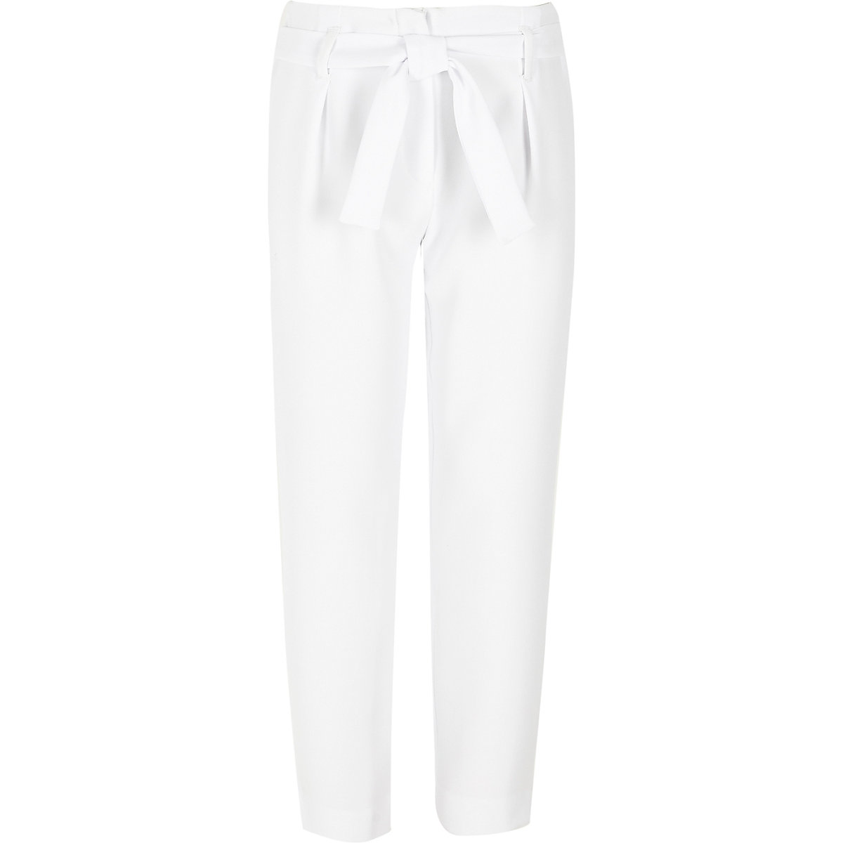 Girls white tie waist tapered pants