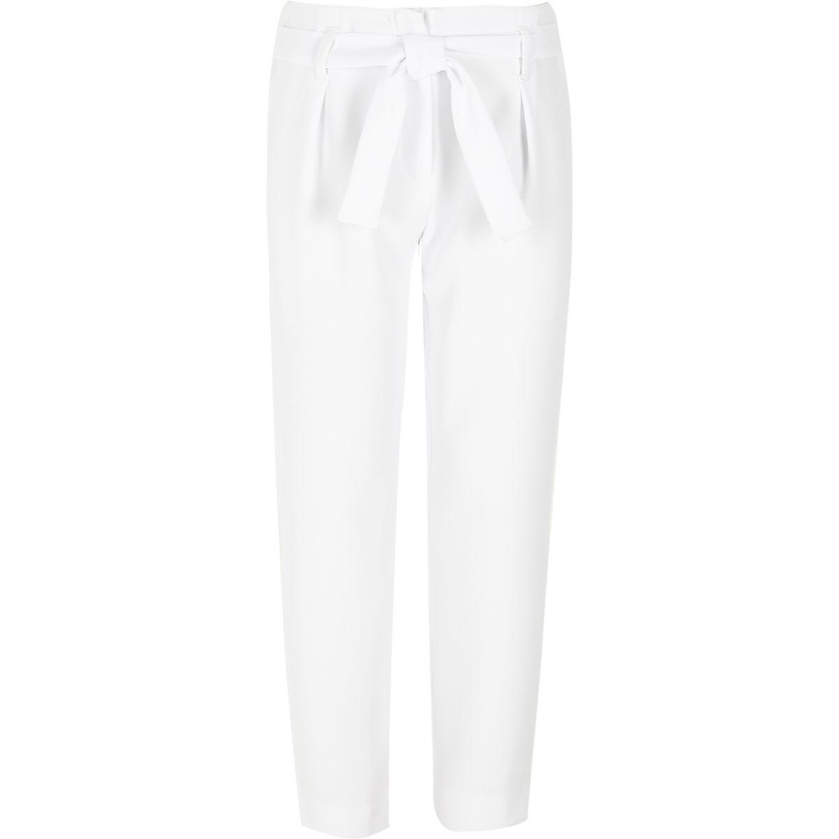 Pantalon coupe fuselée blanc avec ceinture pour fille