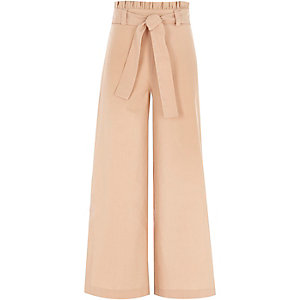 Girls beige paperbag waist wide leg trousers