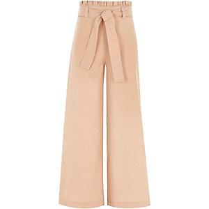 Beige broek met wijde pijpen en geplooide taille voor meisjes
