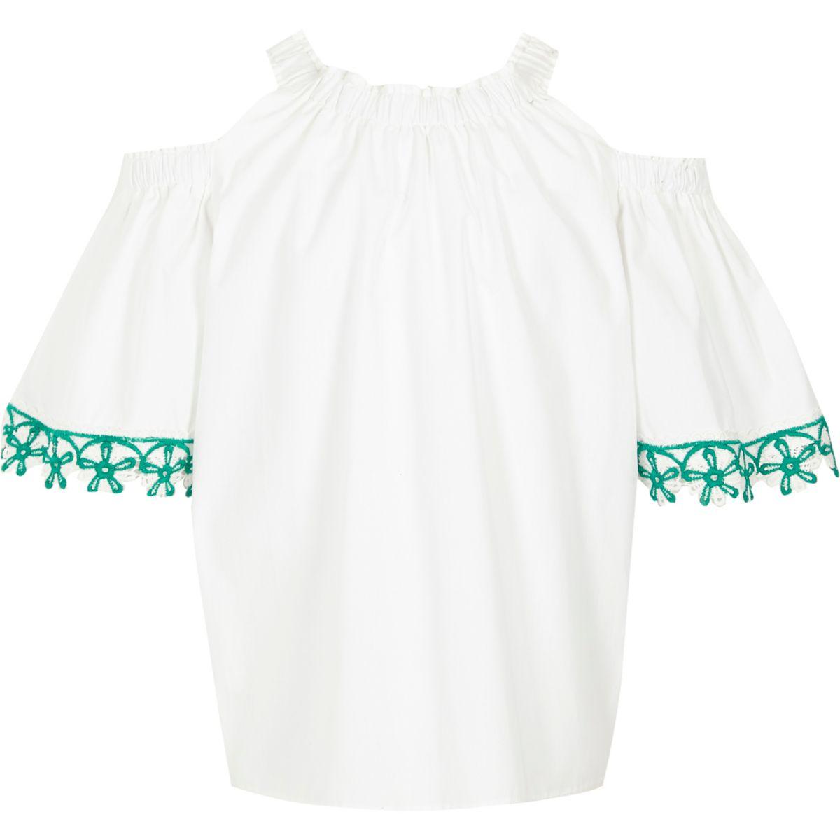 Top blanc à épaules dénudées et bordure au crochet pour fille