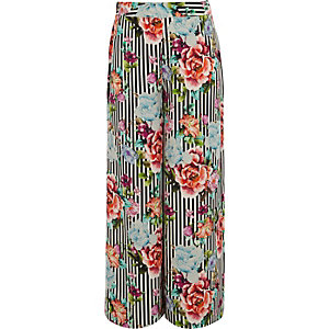 Girls black stripe floral wide leg trousers