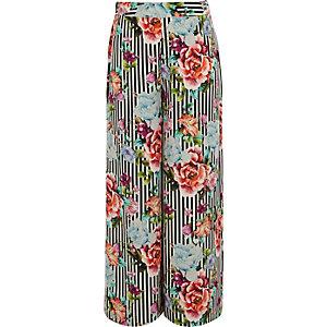 Zwarte gestreepte broek met wijde pijpen en bloemenprint voor meisjes