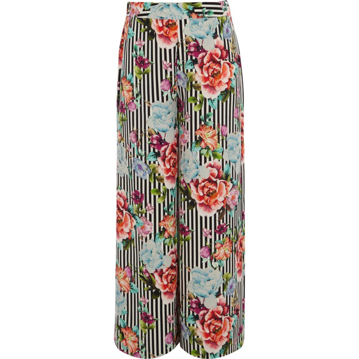 Girls black stripe floral wide leg trousers