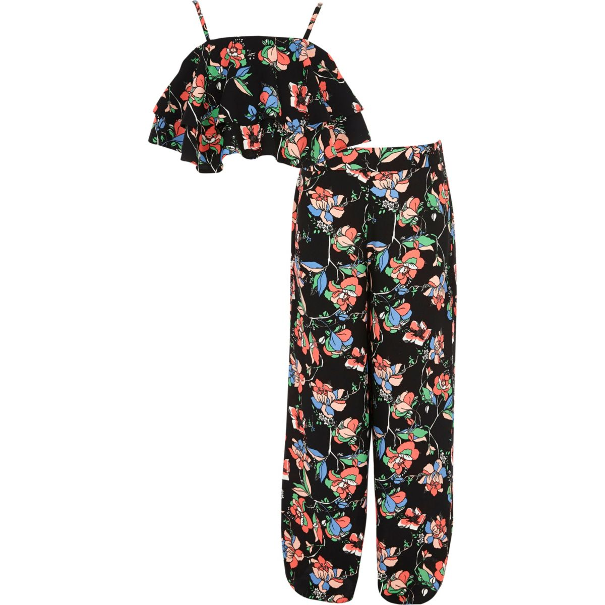 Girls black floral layered crop top outfit