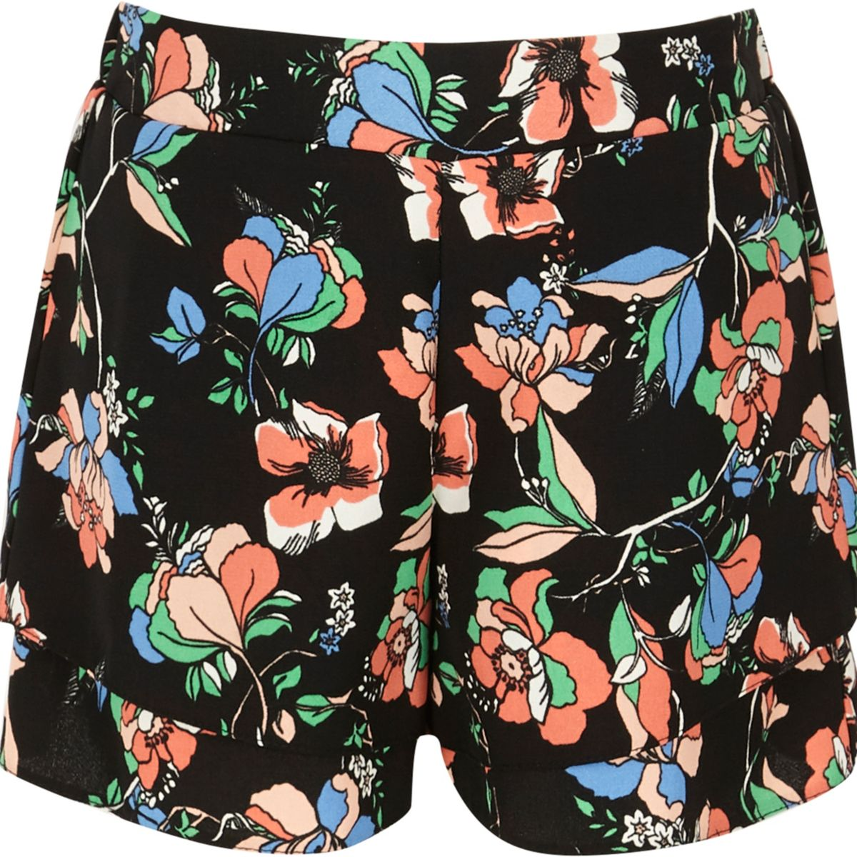 Schwarze, doppellagige Shorts