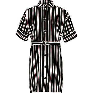 Girls black stripe military shirt dress