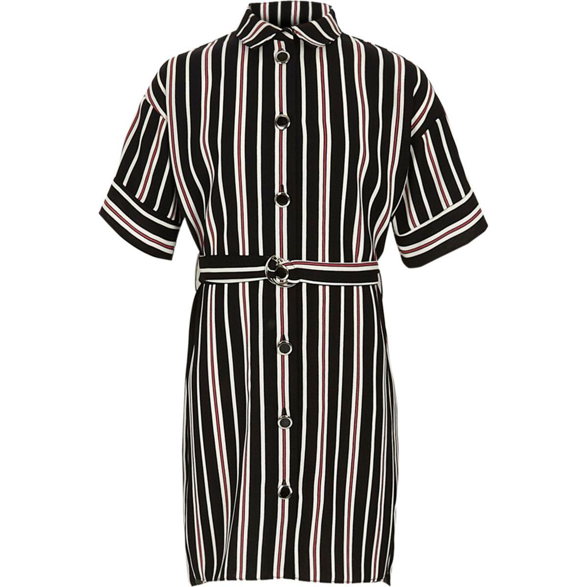 Girls black stripe military shirt dress