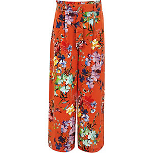 Girls orange RI Studio wide leg trousers