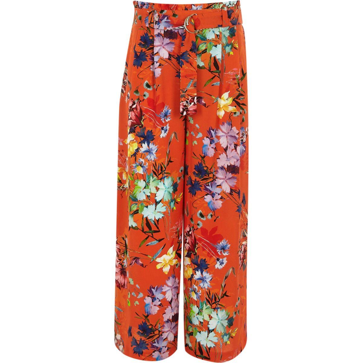 Girls orange RI studio wide leg trousers