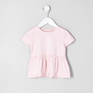 Mini girls pink peplum T-shirt