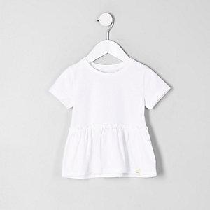 T-shirt péplum blanc mini fille