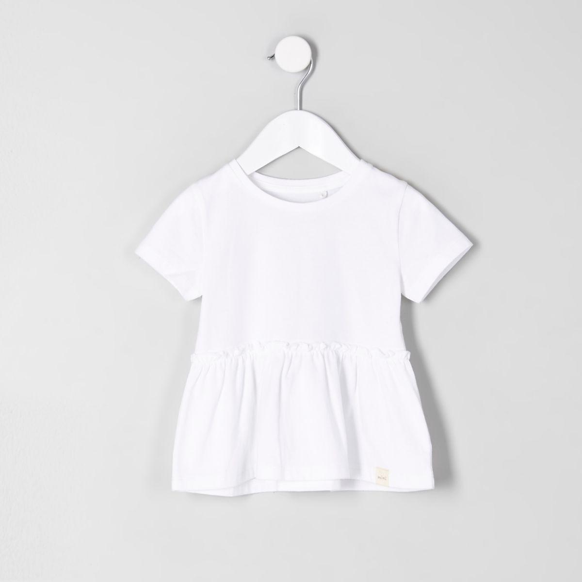 Mini girls white peplum T-shirt