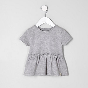 Mini girls grey peplum hem T-shirt