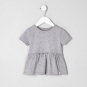 T-shirt gris à ourlet péplum pour mini fille