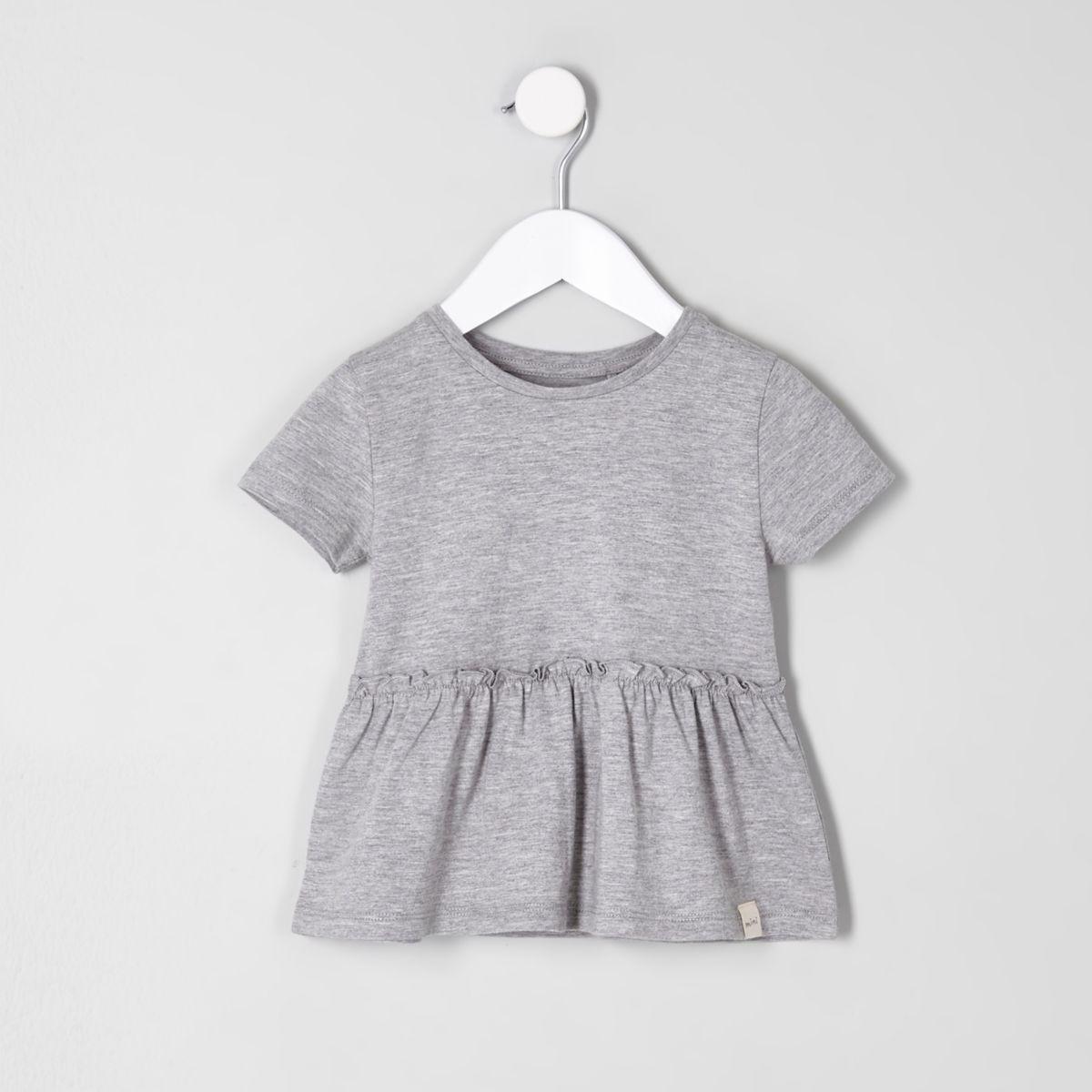 Mini girls grey peplum hem T-shirt