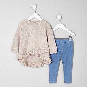 Mini - Outfit van top met ruche en legging voor meisjes