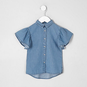 Mini girls blue denim frill sleeve shirt