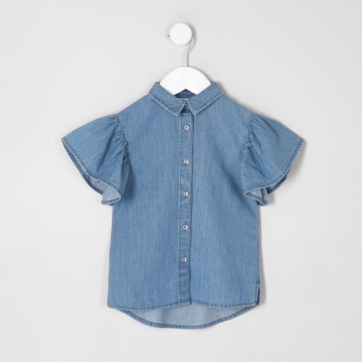 Mini girls blue denim frill sleeve shirt