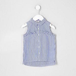 Mini - Blauw gestreept mouwloos overhemd met ruches voor meisjes