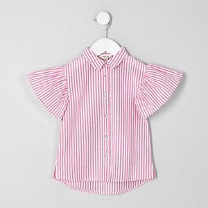 Mini girls pink stripe frill sleeve shirt