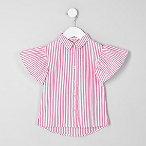 Mini girls pink stripe frill sleeve shirt