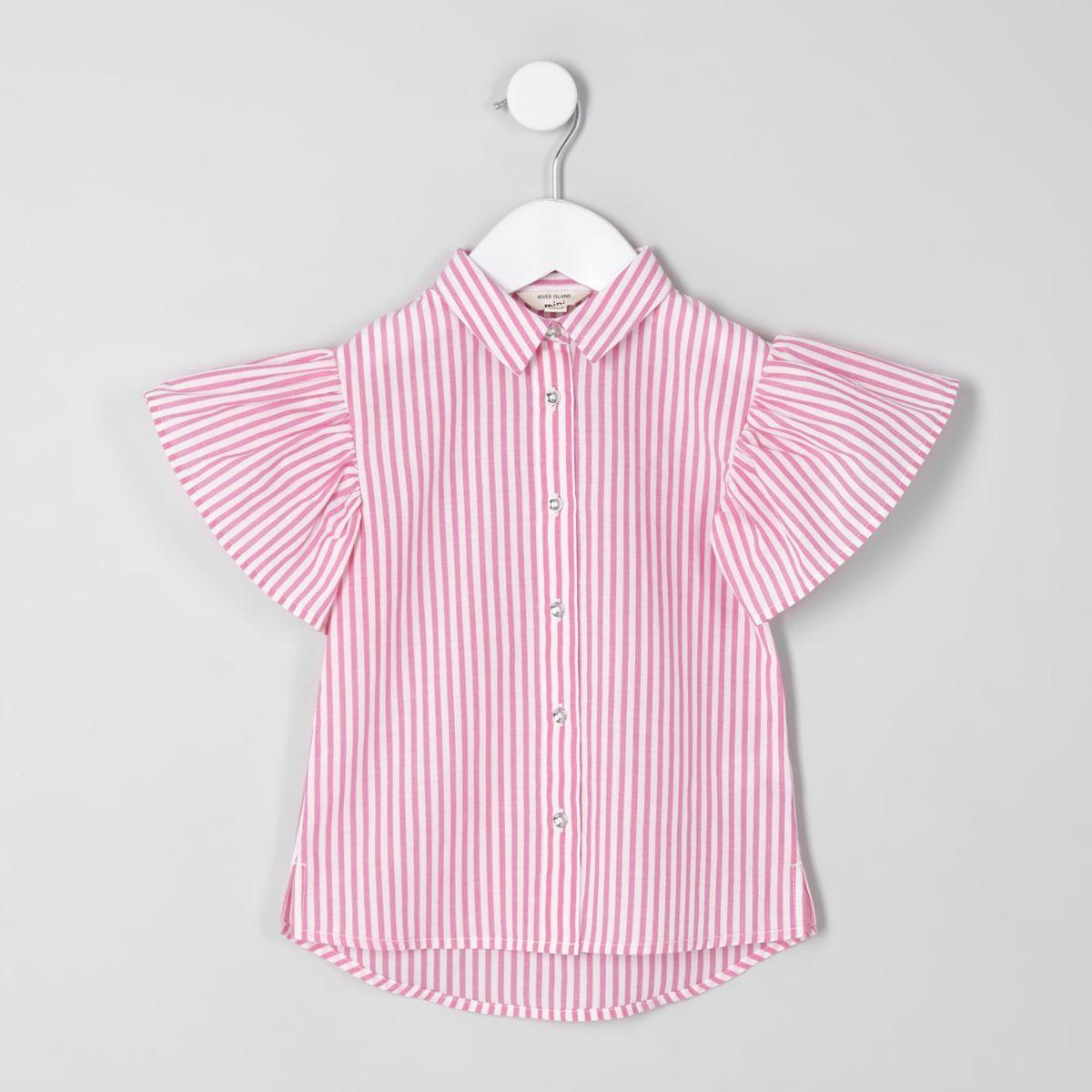 Pinkes, gestreiftes Hemd mit Rüschen