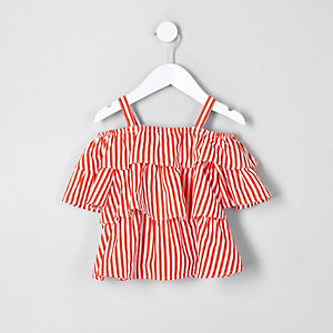 Mini girls orange frill cold shoulder top