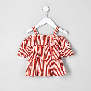 Mini - Oranje schouderloze top met ruches voor meisjes