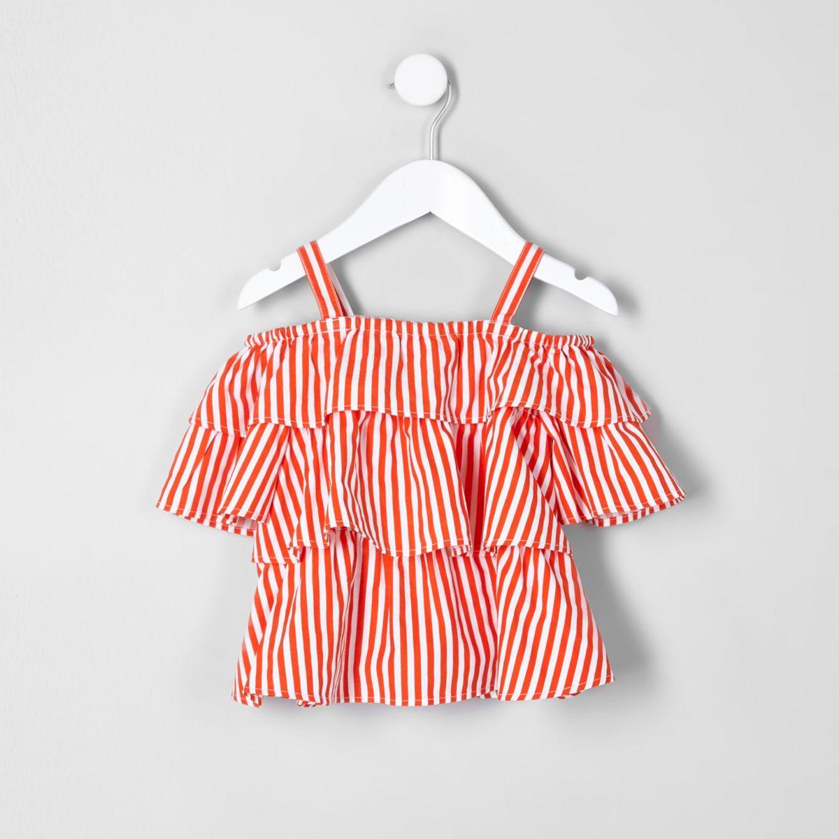 Mini girls orange frill cold shoulder top