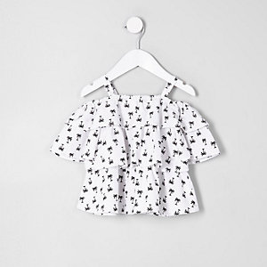 Mini girls white palm tree bardot top