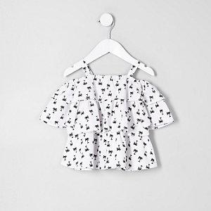 Mini - Witte schouderloze top met palmboomprint en ruches voor meisjes