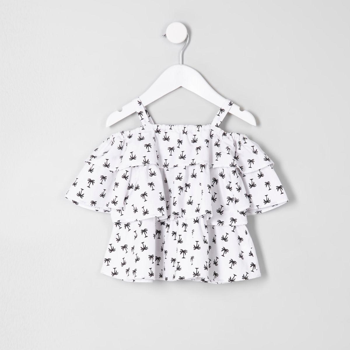 Mini girls white palm frill cold shoulder top