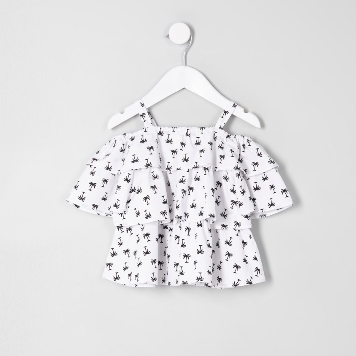 Mini girls white palm frill cold shoulder top