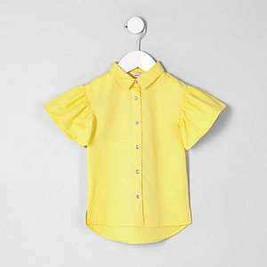 Mini girls yellow stripe frill sleeve shirt