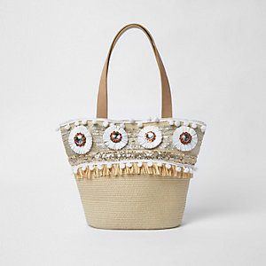 Girls beige straw raffia brooch shopper bag
