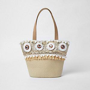 Beige Shopper-Tasche aus Stroh mit Bast-Broschen