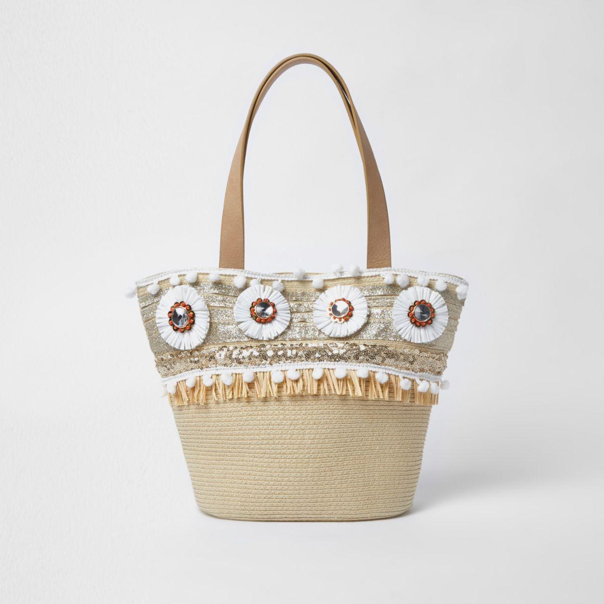 Girls beige straw raffia brooch shopper bag