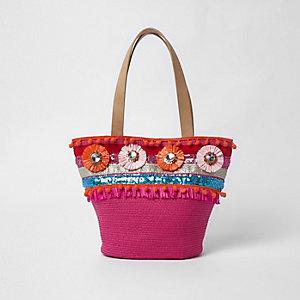 Cabas en paille rose avec broches et raphia pour fille