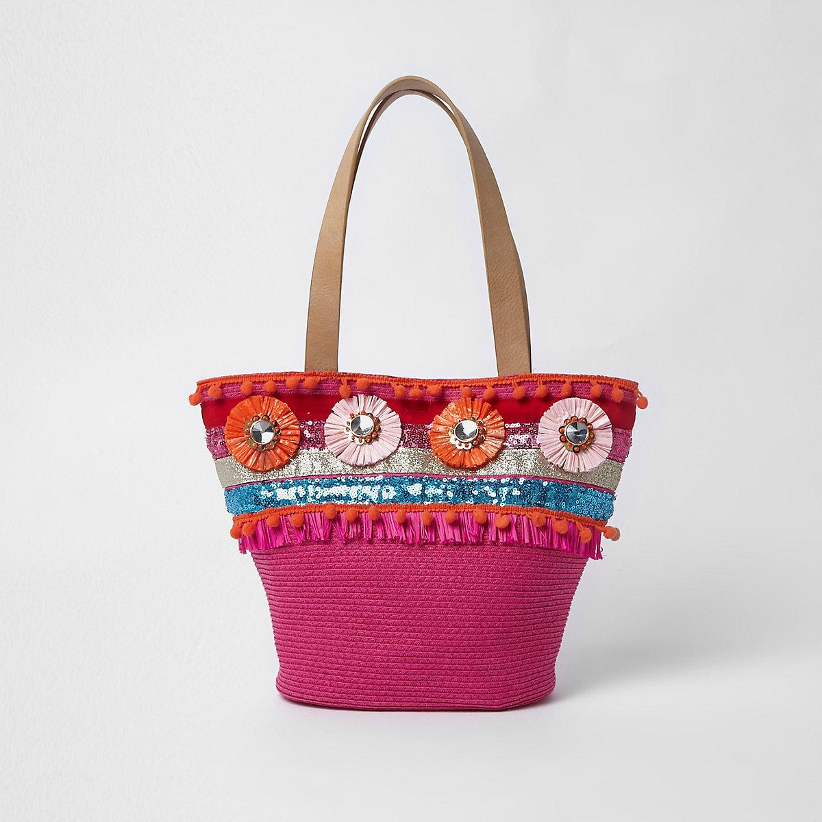 Girls pink straw raffia brooch shopper