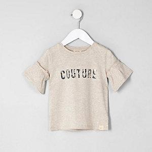 T-shirt «couture» crème à volants mini fille