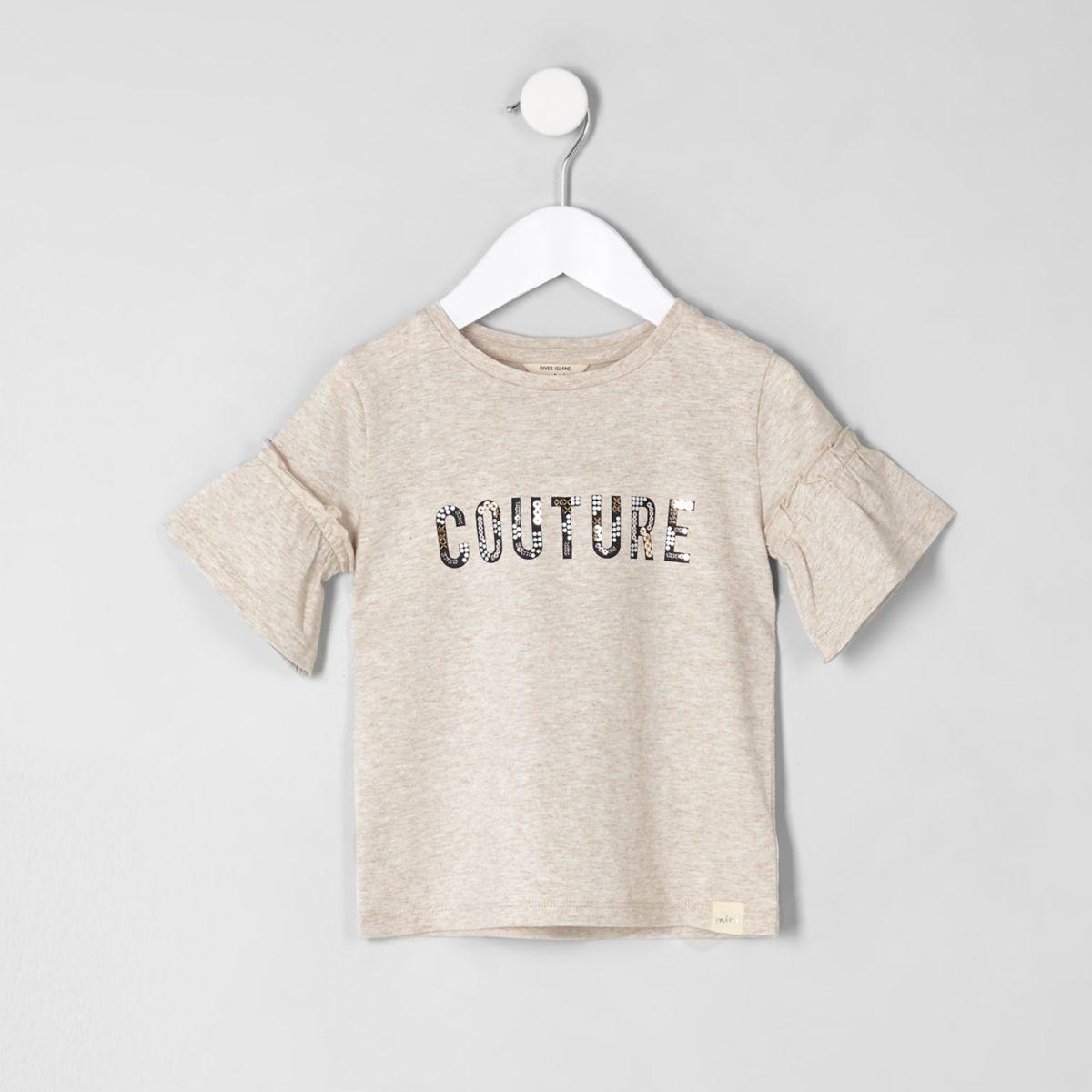 Mini girls cream 'couture' frill T-shirt