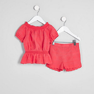 Ensemble short et top Bardot corail mini fille