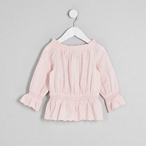 Top Bardot rose à broderie anglaise mini fille