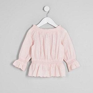 Mini - Roze geborduurde bardottop voor meisjes