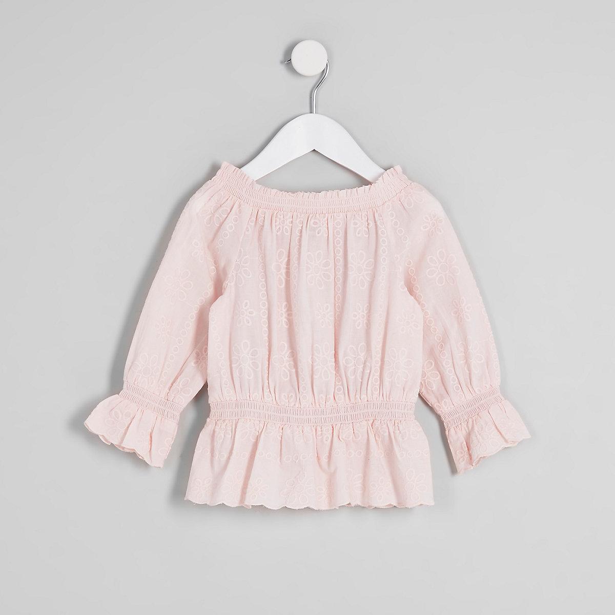 Mini girls pink broderie bardot top