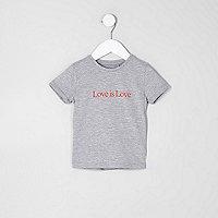 Mini girls grey 'love is love' T-shirt