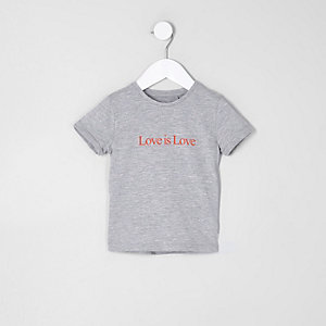 Mini girls grey 'love is love' T-shirt