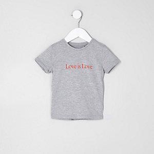 Mini - Grijs T-shirt met 'love is love'-print voor meisjes